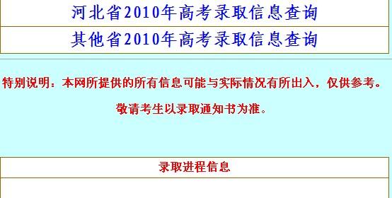 2010河北北方学院高考录取结果查询系统