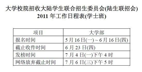 台湾高校大陆招生报名时间:5月16日-6月16日