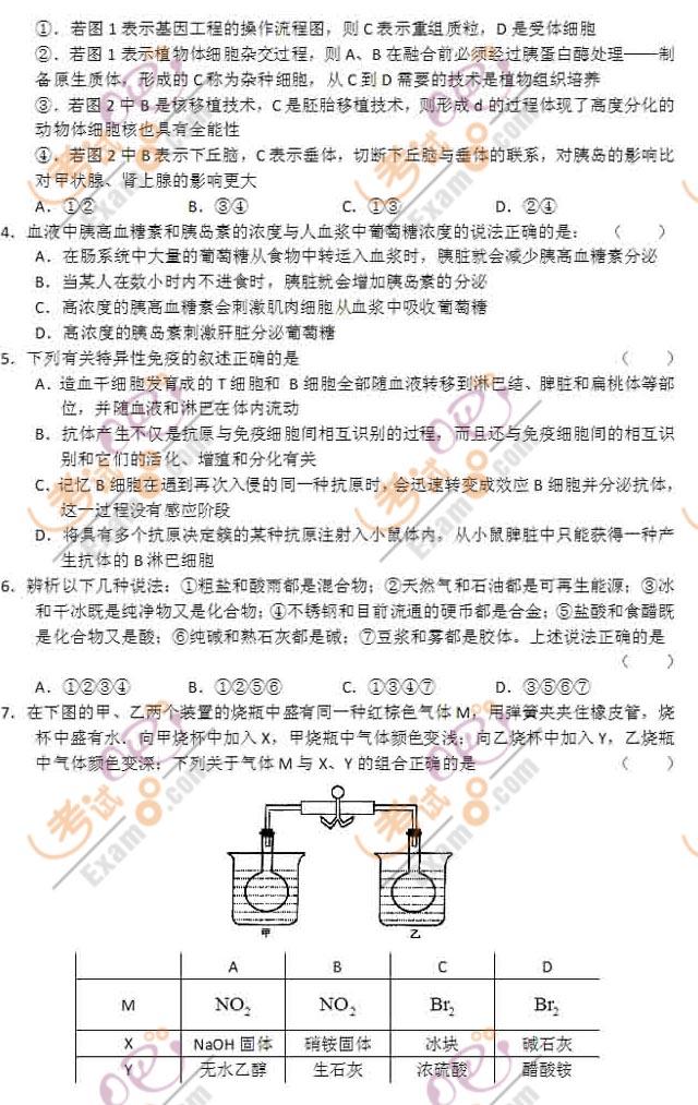 2011高考《理综》预测试题及答案(大纲版)