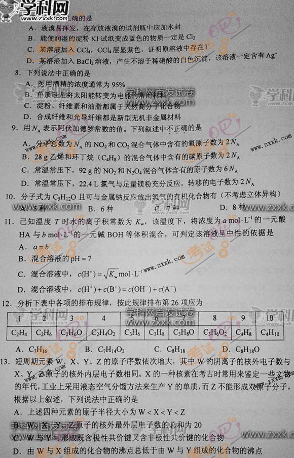考试吧:2012年高考理综试题(新课标卷)