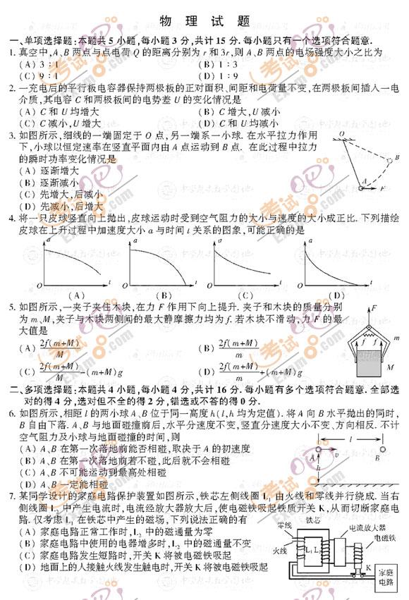 考试吧:2012年江苏高考物理试题及答案