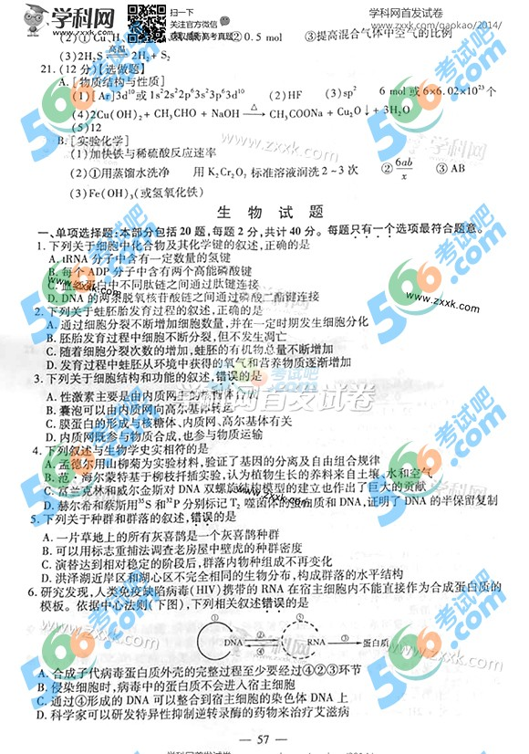 2014年江苏高考生物试题及答案(完整)