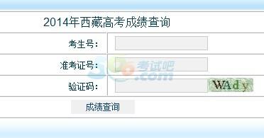 2014年西藏高考成绩查询入口已开通 点击进入