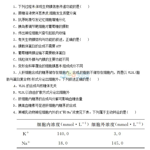 2015年高考《生物》精选巩固复习试题(1)