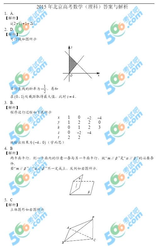 考试吧:2015年北京高考理科数学答案及解析