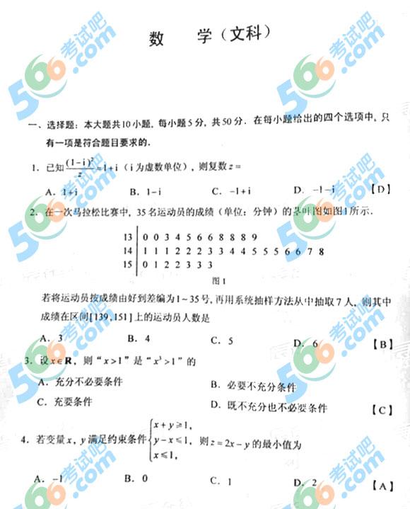 2015年湖南高考文科数学试题及答案(官方版)