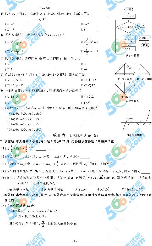 考试吧:2015年安徽高考文科数学试题及答案(官方)