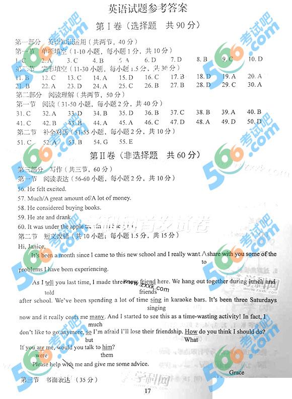 考试吧:2015年四川高考英语试题答案