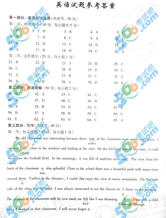 考试吧:2015年浙江高考英语试题及答案(官方)