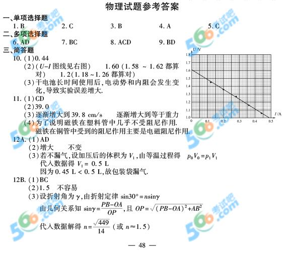 2015年江苏高考物理试题及答案(官方)