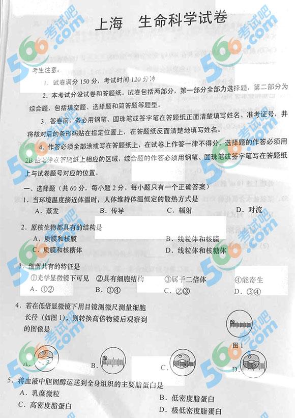 2015年上海高考生物试题及答案