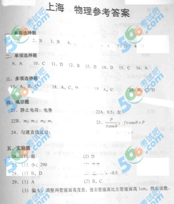 2015上海高考物理试题及答案