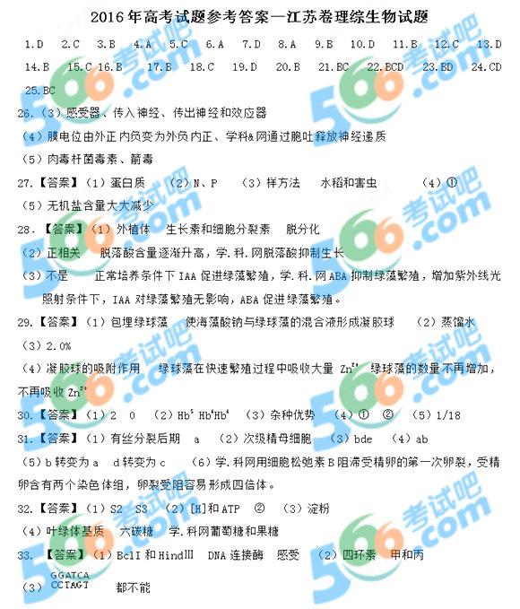 考试吧:2016年江苏高考生物答案