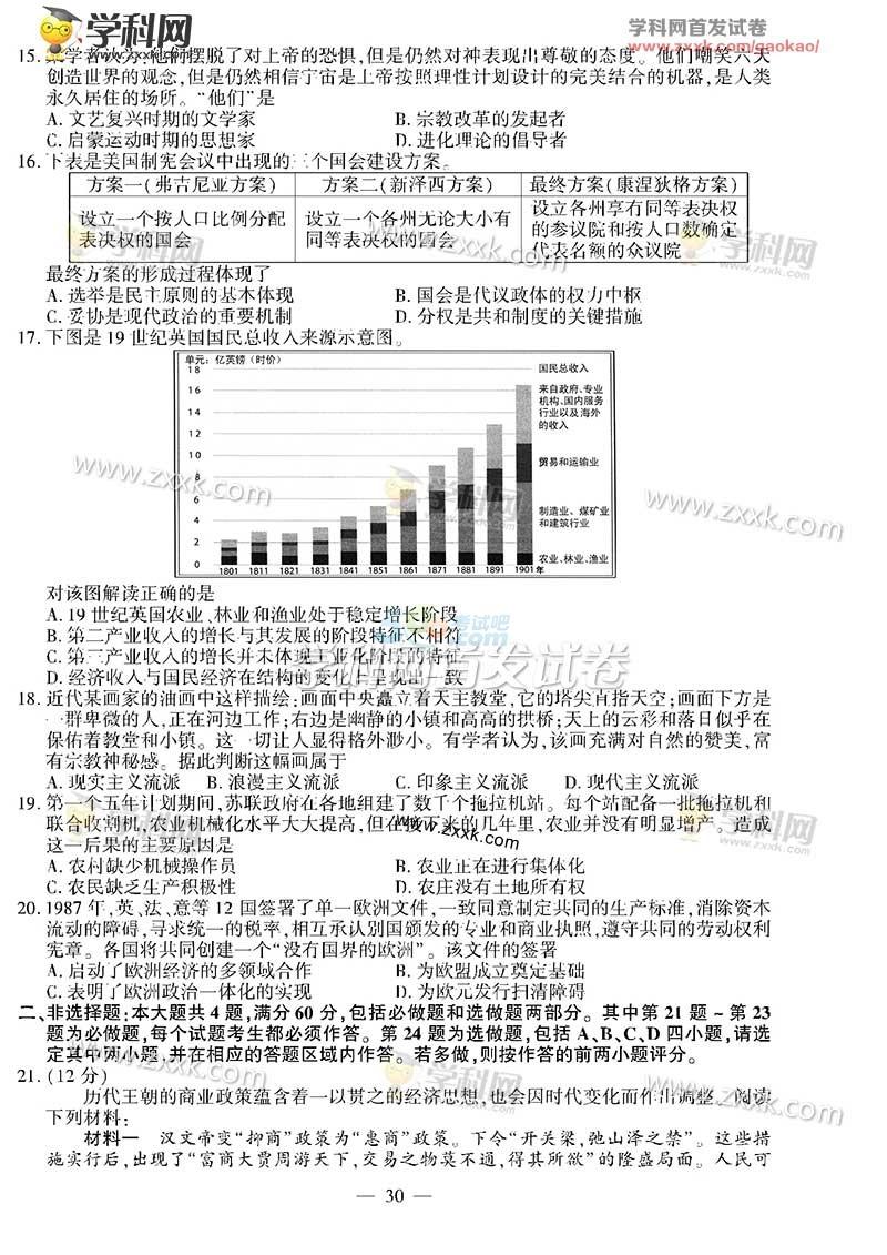 考试吧:2016年江苏高考历史试题及答案(完整版)
