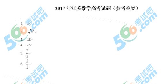 考试吧:2017年江苏高考数学答案