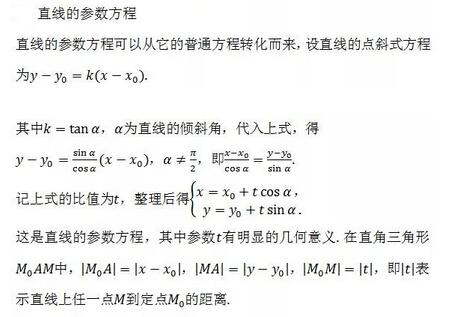 2018高考数学常用公式及定理:直线的参数方程