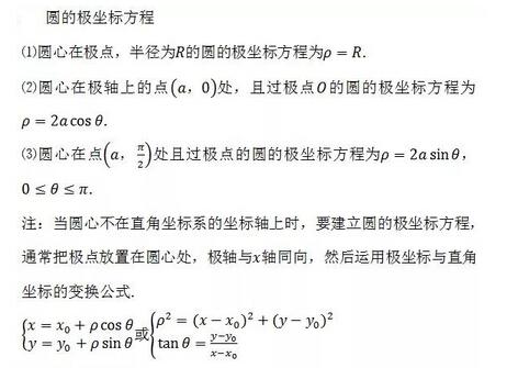 2018高考数学常用公式及定理:圆的极坐标方程