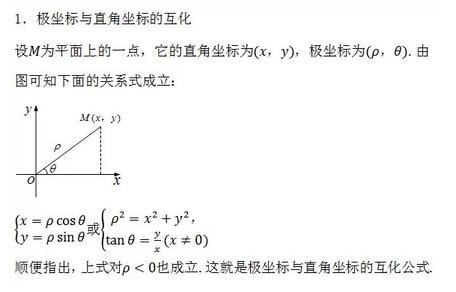 2018高考数学常用公式及定理:极坐标与直角坐标的互化