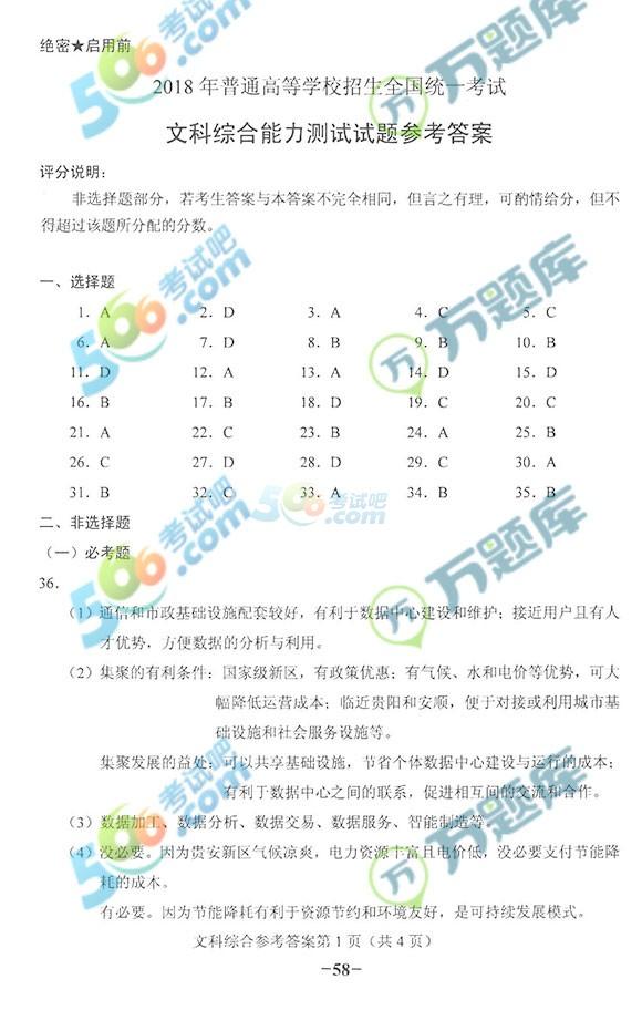 考试吧:2018甘肃高考文综试题及答案(官方版)