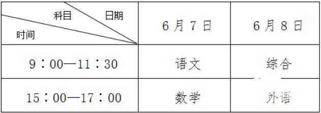 2019年山东高考时间:6月7日-8日