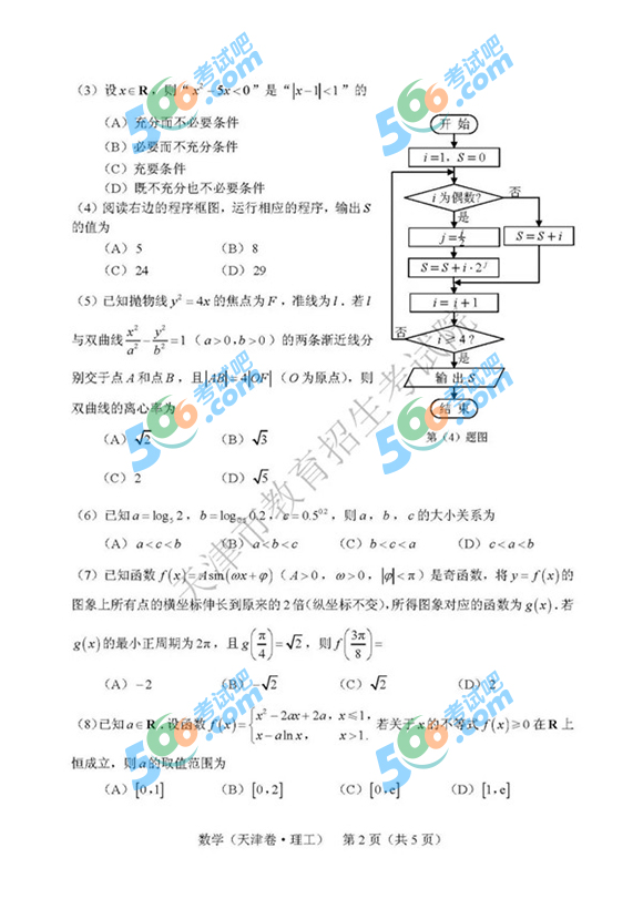 2019年天津高考数学真题及答案(理科 官方版)