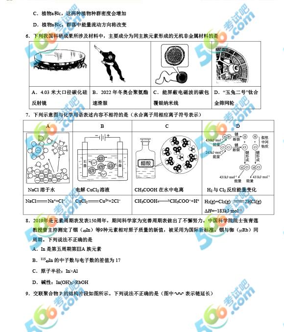 2019年北京高考理综真题及答案(完整版)