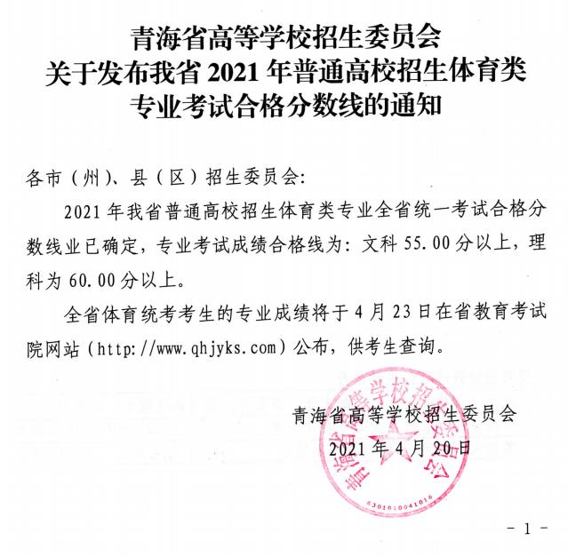 青海2021年高考体育类专业考试合格分数线公布